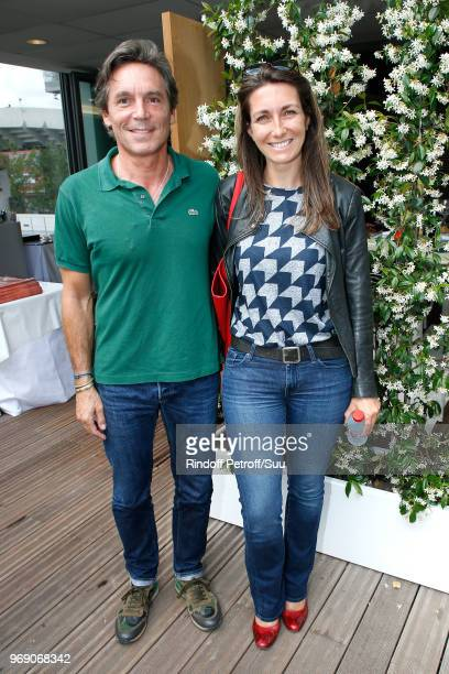 Journalist AnneClaire Coudray and her companion Nicolas Vix attend the 2018 French Open Day Twelve at Roland Garros on June 7 2018 in Paris France