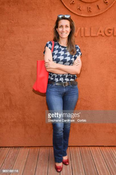 Journalist AnneClaire Coudray attends the 2018 French Open Day Twelve at Roland Garros on June 7 2018 in Paris France