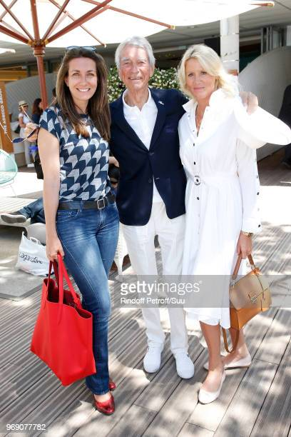 Journalist AnneClaire Coudray journalist JeanClaude Narcy and Alice Bertheaume attend the 2018 French Open Day Twelve at Roland Garros on June 7 2018...