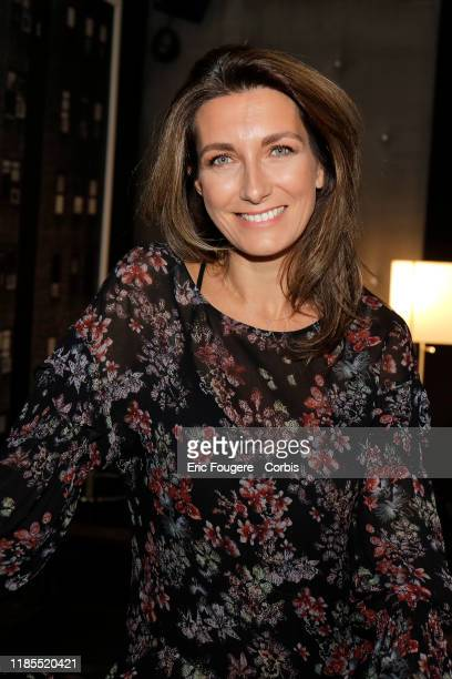Journalist AnneClaire Coudray poses during a portrait session on October 15 2019 in Paris France