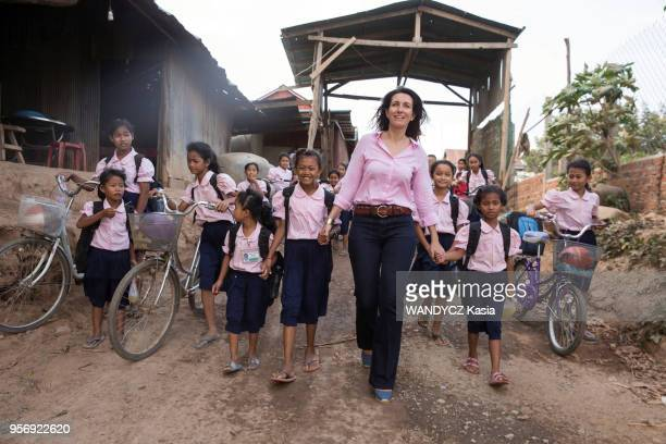 Journalist AnneClaire Coudray visits the Happy Chandara School near Phnom Penh This school which enrolls 1300 elementary school graduates was founded...