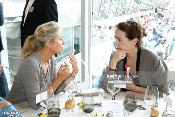 Journalist AnneSophie Lapix and President of France Television Delphine Ernotte attend the 'France Television' Lunch during the 2018 French Open Day...