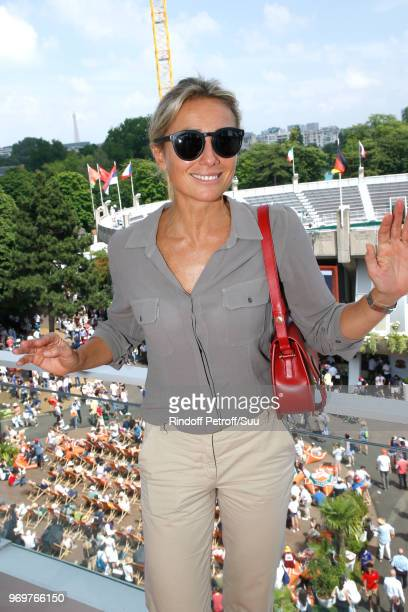 Journalist AnneSophie Lapix attends the 2018 French Open Day Thirteen at Roland Garros on June 8 2018 in Paris France