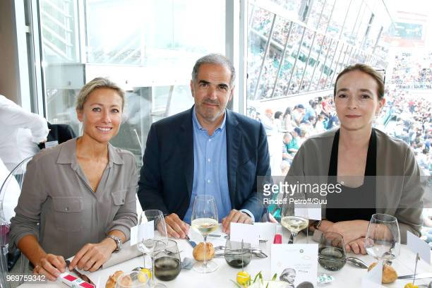 Journalist AnneSophie Lapix President of RTL Group Christopher Baldelli and President of France Television Delphine Ernotte attend the 'France...