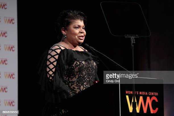 Journalist April Ryan accepts the WMC She Persisted Award onstage at the Women's Media Center 2017 Women's Media Awards at Capitale on October 26...