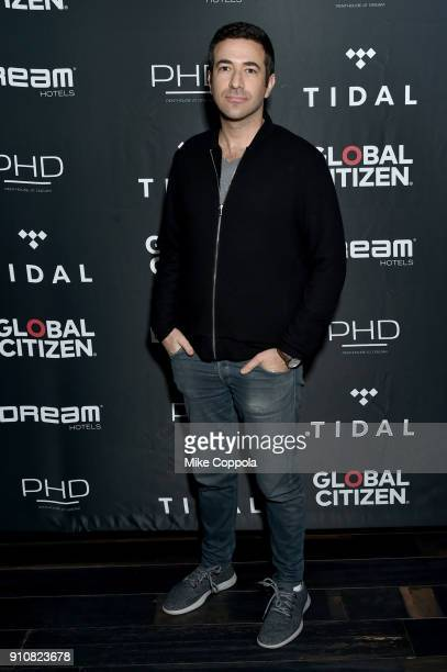 Journalist Ari Melber attends a preGrammy celebration cohosted by Global Citizen Tidal and French Montana at PhD Rooftop Lounge at Dream Downtown on...