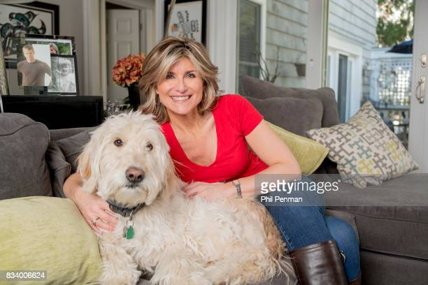 Journalist Ashleigh Banfield is photographed with her dog for Closer Weekly Magazine on March 4 2017 at home in Connecticut