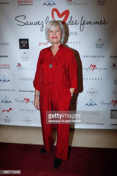 Journalist at BFM Business Annie Lemoine dressed by Reality Studio attends the 'Sauvez le Coeur des Femmes Red Defile' Show at Hotel Marriot on...