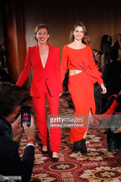Journalist at BFMTV Gaetane Meslin dressed by Emmanuel Ungaro and journalist Margaux de Frouville dressed by Paule Ka walk the runway at the end of...