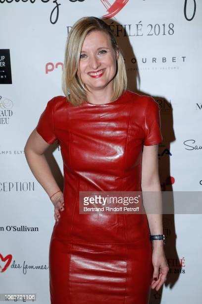 "Journalist at BFMTV Karine de Menonville, dressed by Paule Ka, attends the ""Sauvez le Coeur des Femmes - Red Defile"" Show at Hotel Marriot on..."