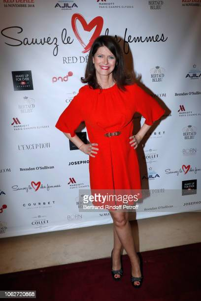 Journalist at LCI Magali Lunel dressed by Tibi attends the Sauvez le Coeur des Femmes Red Defile Show at Hotel Marriot on November 16 2018 in Paris...