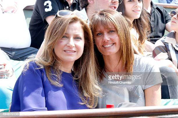 Journalist at Telematin Isabelle Chalencon and miss Elie Saab, Claudine attend the Roland Garros French Tennis Open 2014 - Day 7 on May 31, 2014 in...