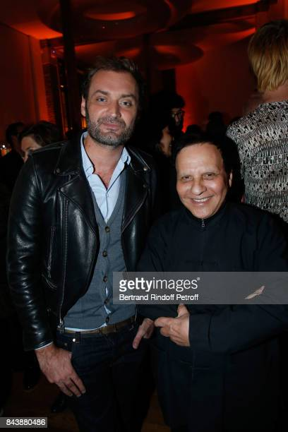 Journalist Augustin Trapenard and stylist Azzedine Alaia attend the 'Richard Wentworth a la Maison Alaia' Exhibition Opening at Azzedine Alaia...