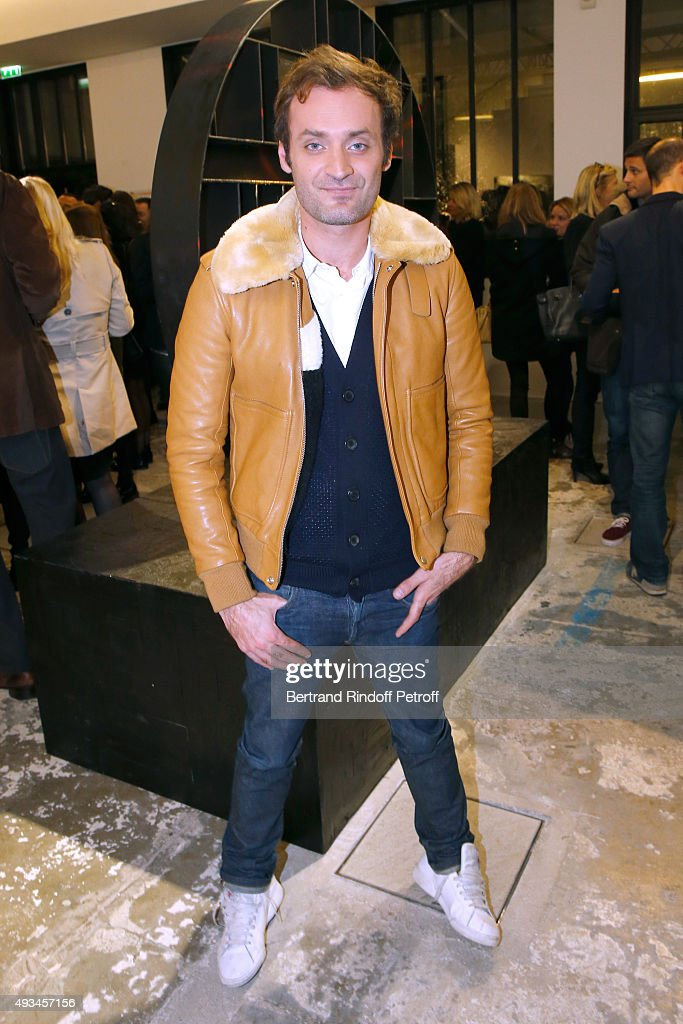 Journalist Augustin Trapenard attend the 'New American Art', Exhibition of Artists Matthew Day Jackson and Rashid Johnson, Opening Cocktail at Studio des Acacias on October 20, 2015 in Paris, France.