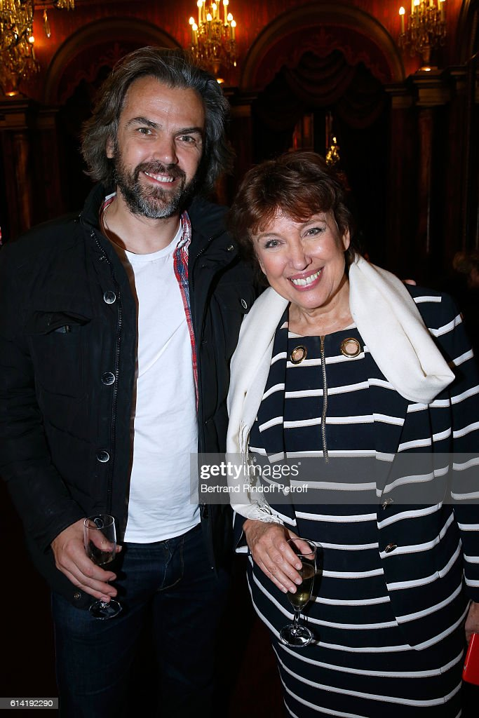 Journalist Aymeric Caron and Politician Roselyne Bachelot Narquin attend the 'A Droite A Gauche' : Theater Play at Theatre des Varietes on October 12, 2016 in Paris, France.