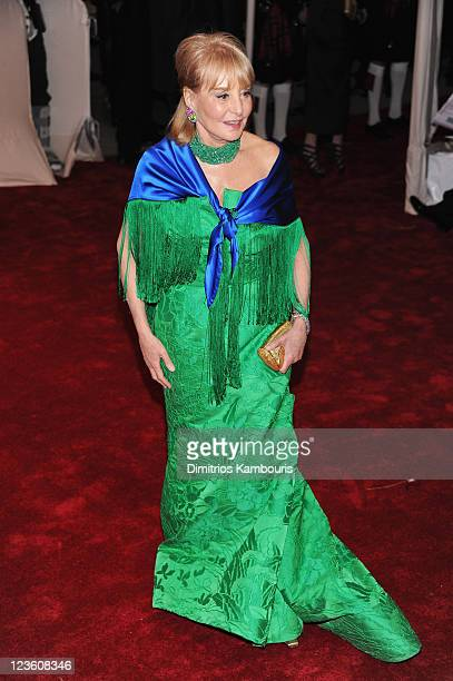 "Journalist Barbara Walters attends the ""Alexander McQueen: Savage Beauty"" Costume Institute Gala at The Metropolitan Museum of Art on May 2, 2011 in..."