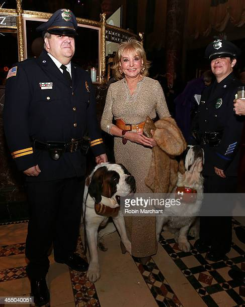 """Journalist Barbara Walters Greenfield MA Police Dog Rosie the nation's first official police dog for """"First Responders"""" and her owner Lt William..."""