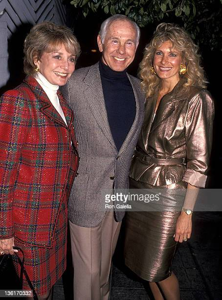 TV journalist Barbara Walters talk show host Johnny Carson and wife Alexis Maas on February 4 1991 dine at Spago in West Hollywood California