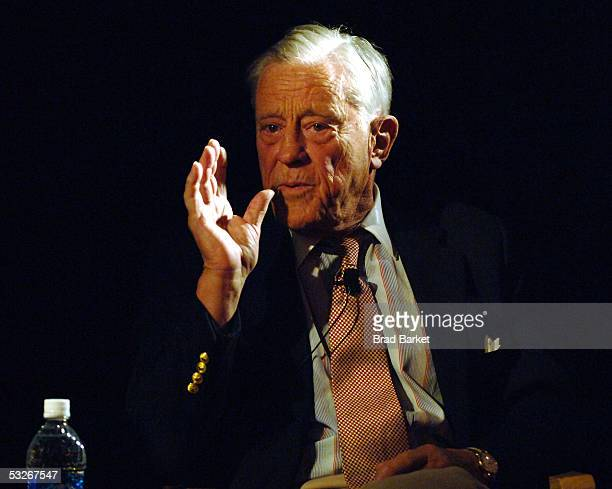 Journalist Ben Bradlee speaks at the question and answer session of the screening of 'All The President's Men' the Tribeca Cinemas on July 19 2005 in...