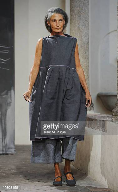 Journalist Benedetta Barzini walks the runway at the Daniela Gregis Spring/Summer 2012 fashion show as part Milan Womenswear Fashion Week on...