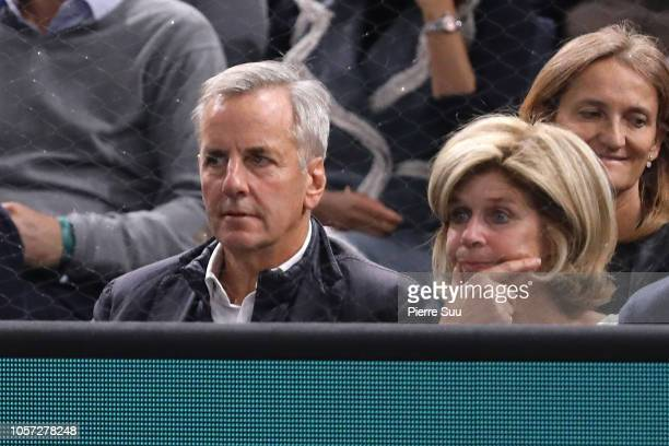 Journalist Bernard De La Villardiere and his wife Anne attend the final of the Rolex Paris Masters on November 4 2018 in Paris France