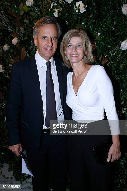 Journalist Bernard de la Villardiere with his wife Anne de la Villardiere attend the 'Diner des amis de Care' for the 70th anniversary of the...
