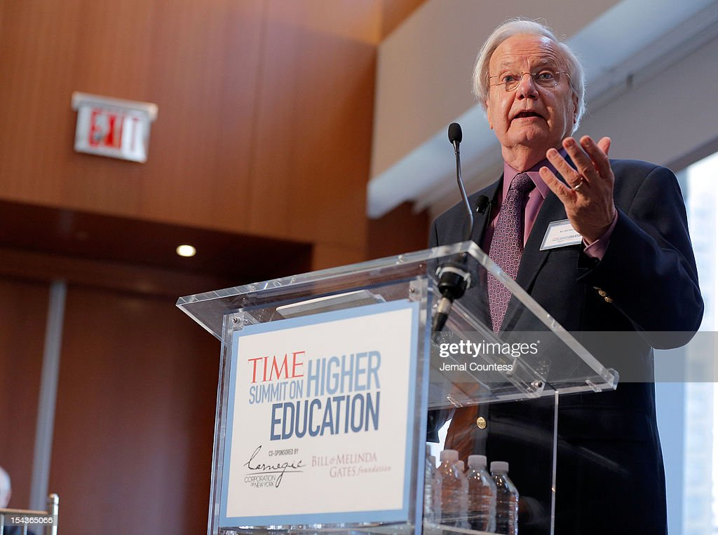 Journalist Bill Moyers moderates the 'All Hands on Deck: Perspectives from Higher Education, Government, Philanthropy and Business' panal during the TIME Summit On Higher Education on October 18, 2012 in New York City.