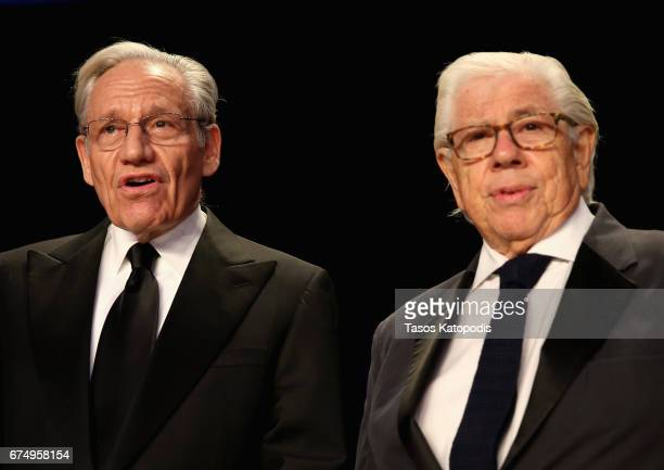 Journalist Bob Woodward and Carl Bernstein attend the 2017 White House Correspondents' Association Dinner at Washington Hilton on April 29 2017 in...