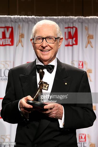 Journalist Brian Henderson poses in the awards room after being inducted into the Logie Hall of Fame at the 2013 Logie Awards at the Crown Palladium...