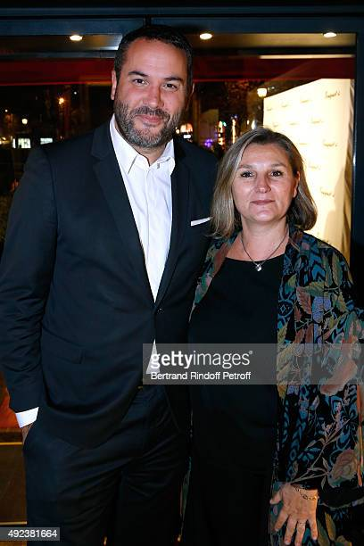 Journalist Bruce Toussaint and his wife Catherine attend the Fouquet's Paris Restaurant presents its Menu 'Twisted' by the Chef Pierre Gagnaire Held...