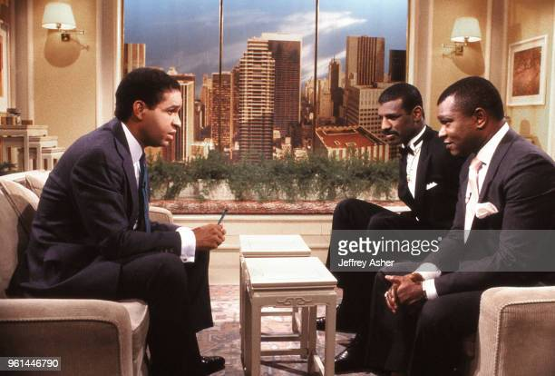 Journalist Bryant Gumbel Boxer Michael Spinks and Promoter and Manager Butch Lewis on the set of The Today Show June 1988.