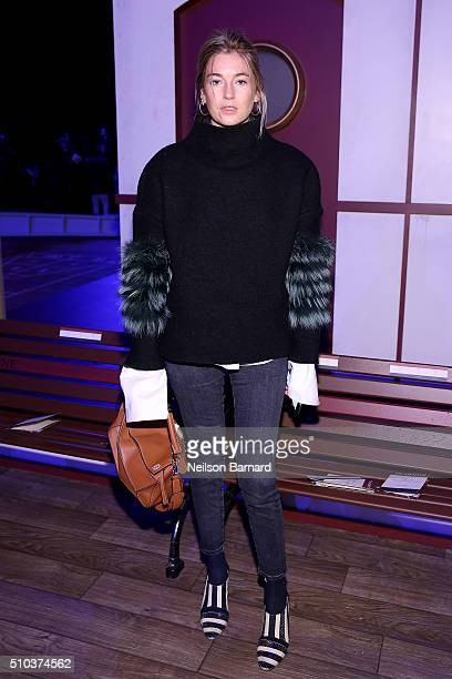 Journalist Camille Charriere attends the Tommy Hilfiger Women's Fall 2016 show during New York Fashion Week The Shows at Park Avenue Armory on...