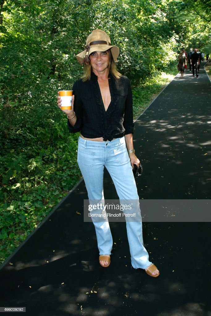 Journalist Carine Roitfeld attends the Balenciaga : Menswear Spring/Summer 2018 show as part of Paris Fashion Week on June 21, 2017 in 'Bois de Boulogne', Paris, France.
