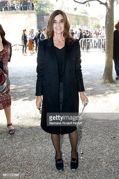 Journalist Carine Roitfeld attends the Elie Saab show as part of the Paris Fashion Week Womenswear Spring/Summer 2016 on October 3 2015 in Paris...