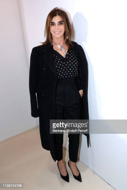 Journalist Carine Roitfeld attends the LVMH Prize 2019 Edition at Louis Vuitton Avenue Montaigne Store on March 01 2019 in Paris France