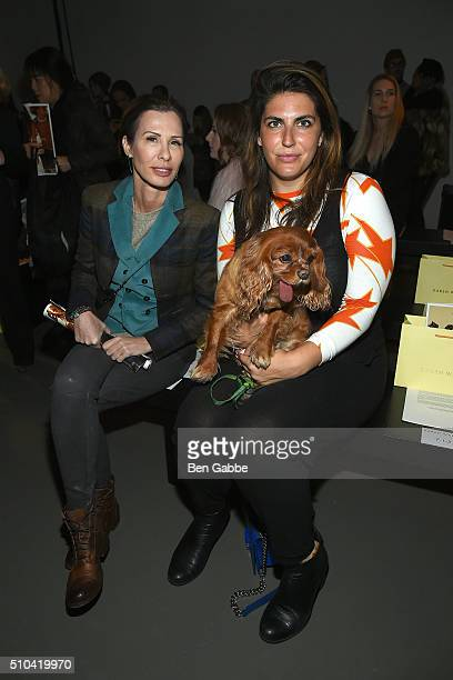 Journalist Carole Radziwill , Katie Sturino and Toast the dog attend the Karen Walker fashion show during Fall 2016 New York Fashion Week at Pier 59...