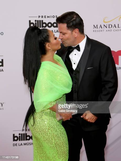 Journalist Carolina Sandoval and Nick Hernandez attend the 2019 Billboard Latin Music Awards at the Mandalay Bay Events Center on April 25 2019 in...