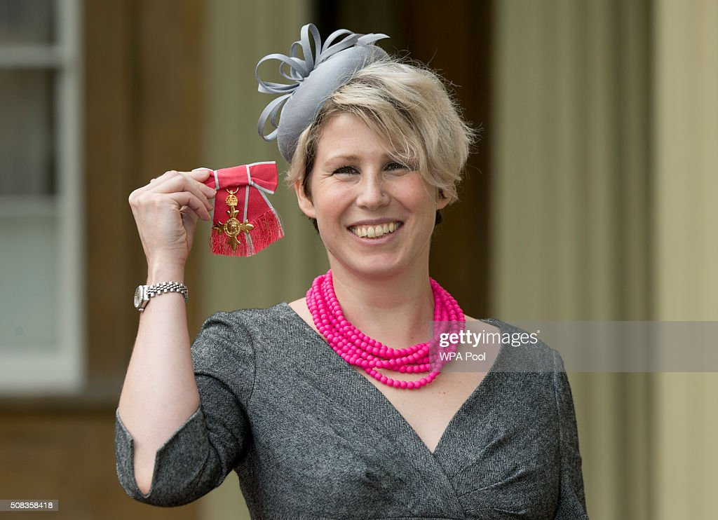 Journalist Caroline Criado-Perez at Buckingham Palace after she was made an OBE (Officer of the Order of the British Empire) by the Prince of Wales on February 4, 2016 in London, England.