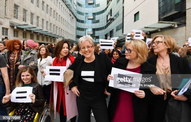 Journalist Carrie Gracie and BBC employees gather outside Broadcasting House in London to highlight equal pay on International Women's Day