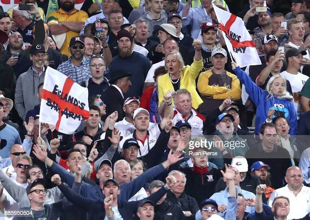 Journalist Cate McGregor sings in the Barmy Army during day four of the Second Test match during the 2017/18 Ashes Series between Australia and...