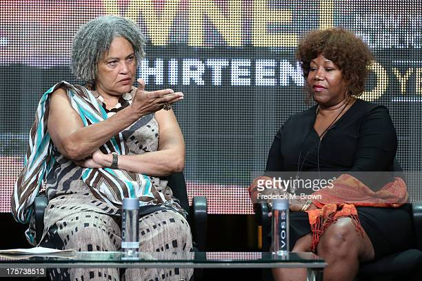 Journalist Charlayne HunterGault and civil rights icon Ruby Bridges speak onstage during 'The African Americans Many Rivers to Cross with Henry Louis...