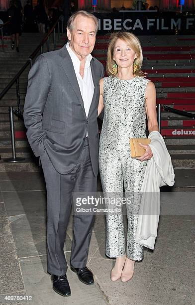 Journalist Charlie Rose and Amanda Burden attend the 2015 Tribeca Film Festival Vanity Fair Party at State Supreme Courthouse on April 14 2015 in New...