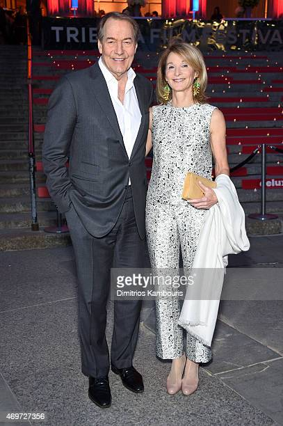 Journalist Charlie Rose and Amanda Burden attend the Vanity Fair Party during the 2015 Tribeca Film Festival at the New York State Supreme Court...