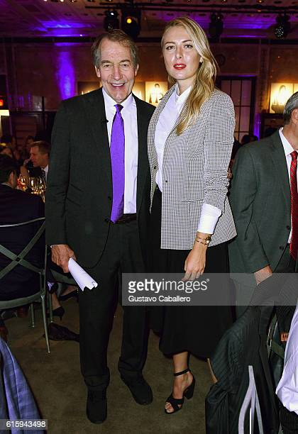 Journalist Charlie Rose and tennis player Maria Sharapova attend the Tiger Woods Foundation's 20th Anniversary Celebration at the New York Public...