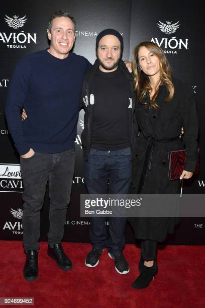 TV journalist Chris Cuomo actor Gregg Bello and Cristina Greeven Cuomo attend a screening of Louisiana Caviar hosted by The Cinema Society with Avion...