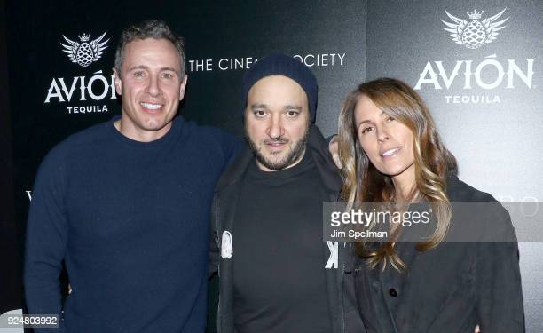 TV journalist Chris Cuomo actor Gregg Bello and Cristina Greeven Cuomo attend the screening of Louisiana Caviar hosted by The Cinema Society with...