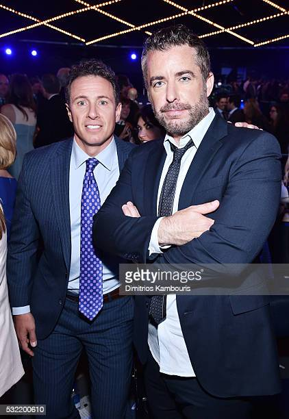 Journalist Chris Cuomo and comedian Jason Jones attend the Turner Upfront 2016 reception at The Theater at Madison Square Garden on May 18 2016 in...