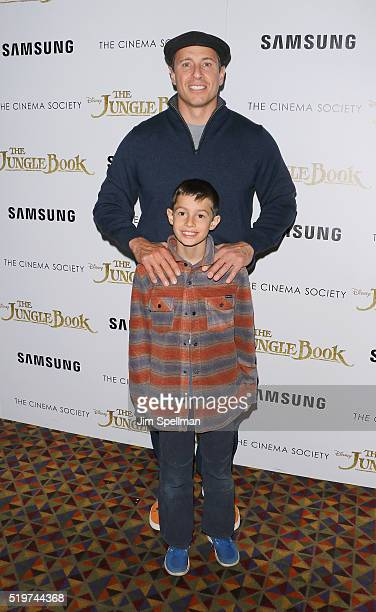Journalist Chris Cuomo and son attend the screening of The Jungle Book hosted by Disney with The Cinema Society and Samsung at AMC Empire 25 theater...