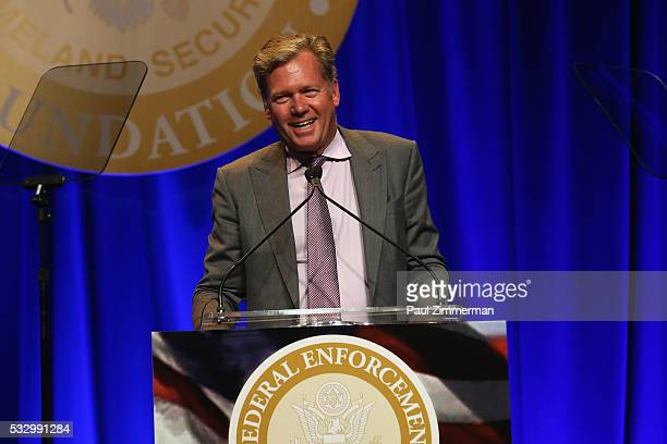 Journalist Chris Hansen speaks onstage during the Federal Enforcement Homeland Security Foundation 2016 Ridge Awards at Sheraton Times Square on May...