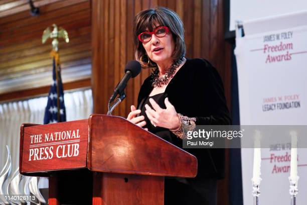 Journalist Christiane Amanpour host of the television show 'Christiane Amanpour Co' gives the keynote address at the 2019 James W Foley Awards at the...